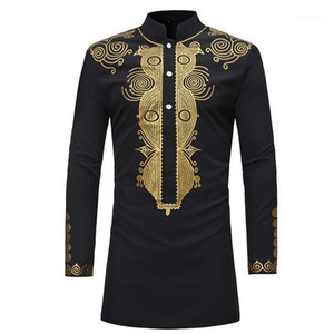 Laamei Adult Men African Black Golden Printed Long Sleeves Button Shirt Stand Up Collar Tribal Folk Tunic Top For Men Plus Size1