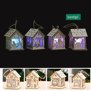 Christmas Log Cabin Hangs Wood Craft Kit Puzzle Toy Christmas Wood House with Candle Light Bar Home Christmas Decorations Gift Wholesale