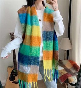 Wool scarf new rainbow grid fringed shawl for male and female New Fashion Plaid Thick Brand Shawls and Scarves for Women