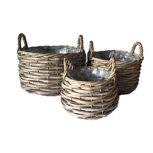 Garden-shaped natural color rattan storage basket container willow flower basket home garden decoration