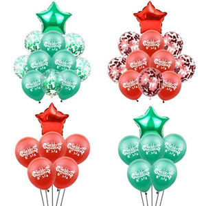 Red Green Christmas Decoration Balloon Latex Confetti Aluminum Foil Decoration Balloon Xmas Eve Party Supplies