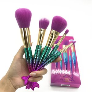 Tarte Makeup brushes sets cosmetics brush 5 pcs kits bright colors Mermaid make up brush tools Powder Contour brushes DHL free shipping