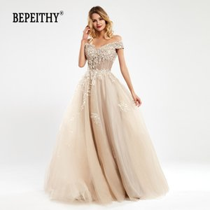 BEPEITHY Off The Shoulder Lace Evening Dresses Long For Women Champange Vintage A-Line Prom Gown Reception Elegant 201119