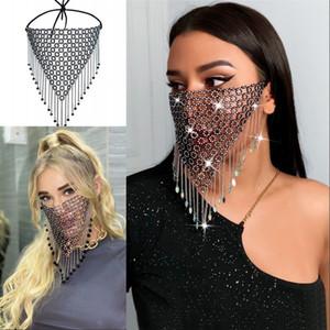 Grid Weave Rhinestone Face Mask Adult Bling Crystal Tassels Mouth Masks Metal Mascherine Reusable Lady Fashion Bardian 15sk G2