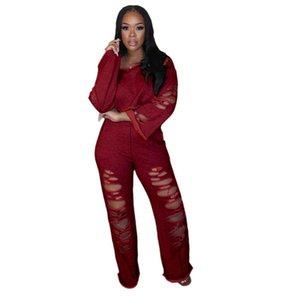 Women 2 Piece Set Fashion Suit 2020 O Neck Long Sleeve Hole Crop Top High Waist Loose Wide Legs Pants 2 Piece 3xl Plus Size Sets