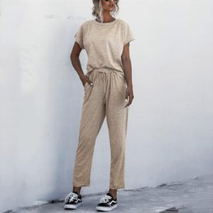 women summer suits fashion solid casual pullover o neck short sleeve tops full length pants ladies loose plus size suit