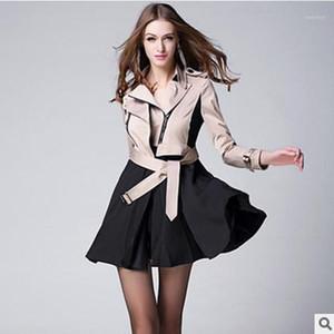 Женщины женские пальто 2021 осень зима бренд повседневное пальто для женщин плюс размер длиной двойной погружной тонкой веткой верхней одежды