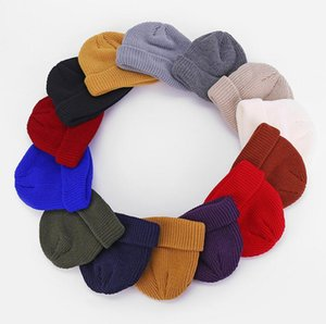 Unisex Knitted Hat Winter Beanie Cuffed Slouchy Skull Cap Boy Girls Hip Hop Wool Crochet Caps Cuff Toque Tuque Skateboard Ski Hats F112705