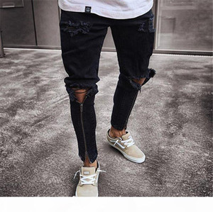 Mens Zipper Holes Designer Jeans Fashion Black Ripped Slim Fit Represen Pencil Pants Hip Hop Teenagers Trousers