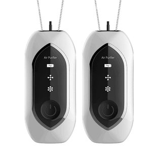 2 Pieces of Fashionable Personal Wearable Necklace Mini Portable Hanging Neck Air Purifier Negative Ion Generator