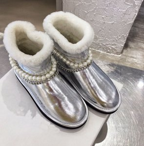 2020 winter new style round head flat-bottomed leather fashion personality pearl chain wool snow boots