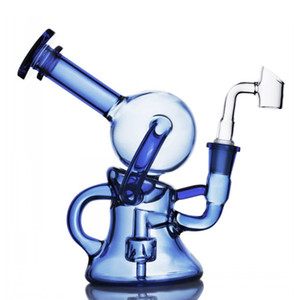 blue color Bong beaker recycler oil dab rig water pipe glass pipes with 14mm banger for smoking accessories hookahs
