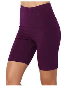 Couleur unie Shorts plats Womens Yoga exercice décontracté genou longueur pantalon été femmes minces femmes jogger fitness crayon shorts