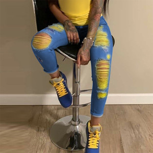 2020 New Fashion Ripped for Women Scratch Denim Trousers High Waisted Skinny Pencil Pants Hollow Out Sexy Female Jeans