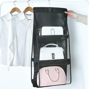 6-Pockets Pratical Dustproof Clear Hanging Purse Handbag Tote-Bag Storage Organizer Closet Rack Bag For Household Storage