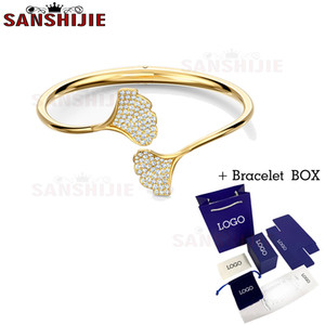 SANSHIJIE 2020 fashion jewelry high quality SWA new amazing exquisite crystal Apricot Leaf women's bracelet romantic gift B1205