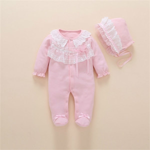 Newborn Clothes 0 3 6 months Cotton Long Sleeve Princess Jumpsuit With Footies Outfit Baby Girl Clothing 201216