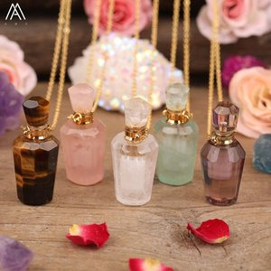 Natural Gems Stones Faceted Essential Oil Diffuser Necklace Jewelry Women Roses Amethysts Crystal Perfume Bottle Pendant Jewelry