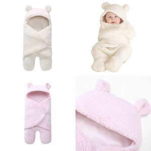 Knitted Sleeping Bag Newborn Blanket Plush Pink White Blanket Split Leg Swaddling Baby Sleepsack Autumn Winter 24yd K2