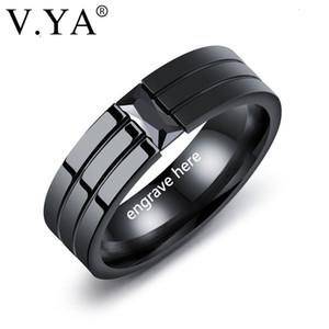 V. YA Novos Anéis Negros 100% Titânio Steel Homens Personalidade Gravura Jóias Casamento Bandas Moda Classic Boyfriend Poison