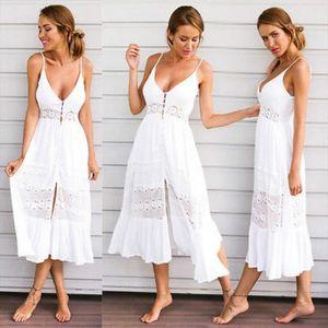 New Fashion Womens Maxi Boho Dress Lace Summer Beach Evening Party Long Sundress Drop Shipping