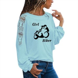 Sexy Powerful Girl Biker Print T Shirt Funny Teeshirt Women Clothing Casual Long Sleeve Large Size Loose Lace Tops