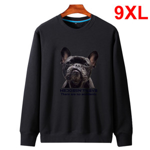 Oversized Casual Sweatshirt Dog Print Fleece Pullover Big Men 2019 Autumn Hoodies Plus Size 8XL 9XL HX202
