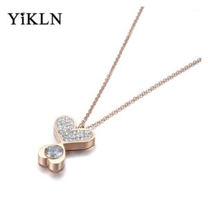 YiKLN Trendy Stainless Steel Double Heart Charm Pendant Jewelry Rose Gold CZ Crystal Choker Wedding Necklaces For Women YN190911
