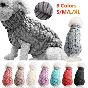 الشتاء محبوك الكلب الملابس الدافئة البلوز سترة لصغيرة كبيرة ملابس الحيوانات الأليفة معطف الحياكة الكروشيه القماش جيرسي بيرو W-00538