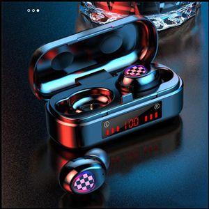 V7 TWS Bluetooth Kulaklık Kablosuz Bluetooth 5.0 Kulaklık Dokunmatik Kulaklık Spor Su Geçirmez 3D Stereo Ses Spor LED Kulakiçi Toptan DHL