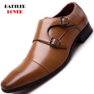 Бренд Роскошные Кожаные Мужские Оксфорды Обувь Квадратный Носок Мужские Обычные Обувь с Двойной пряжкой Мужской Свадебные Обувь Большой Размер 39-48 LJ201014