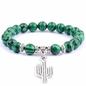 Bohemia Bracelet Men Natural Stone Beaded Bracelets & Bangels For Women Cactus Plant Charm Bangle Wristband Pulseras Jewelry