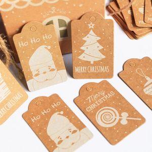 50pcs Set Kraft Paper Christmas Pattern Paper Tag Multi Purpose DIY Handmake Craft Price Label Cards Wedding Party Decoration