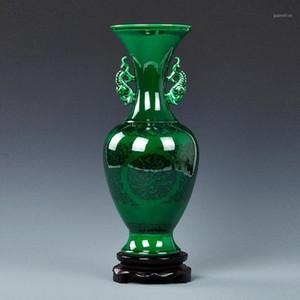 Jingdezhen Ceramic Green Glaze Home Vase Décoration Antique Vases Bleu et Blanc Porcelaine Double-oreilles Bouteille Cadeau Cadeau1