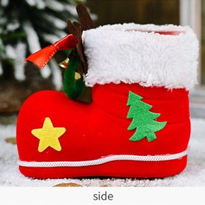 Christmas Decorations New Antlers Bells Flocking Boots Children's Gifts Candy Boots Christmas Candy Box