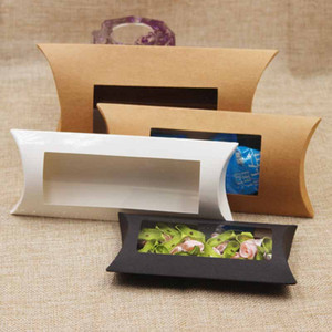 Kraft Pillow Box with Clear PVC Window Black Brown White Pillow Shape Handmade Candy Soap Packaging Box