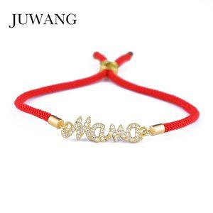 JUWANG Mother Mama Zircon Bracelet & Bangle Gold Color For Women Mom Boy Girls Charm Bracelet Adjustable New Year's Gift