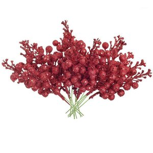 BMBY-30 PCS Berry artificial Twig STEM Berry Cableado Tallos Holly Berries Decoración de flores artificiales para decoraciones de árboles de Navidad1