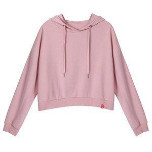2020 Women Autumn Spring Hoodies Fashion Soild Color Pink Long Sleeve Casual Pullovers Female Short Cool Hooded Loose