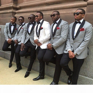 2018 One button slim fit groom tuxedo White light grey Jacket+Pants mens Tuxedos with Black lapel best men suits Custom Made Groomsmen suits