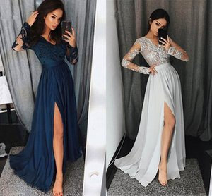 Arabic Chiffon A Line Evening Dresses Long Sleeves 2021 V Neck Lace Appliqued Prom Party Gowns Side Slit Special Occasion Dress AL8693