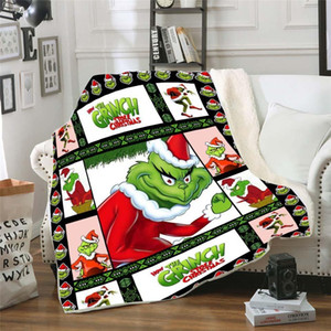 Grinch How the Stole Christmas Sherpa 3d Printed Wearable Adults kids Fleece Blanket Drop Shippng Style-3 2021