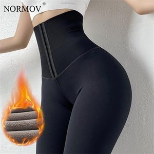 NORMOV Winter Warm thick black High Waist Plus Velvet Push Up Stretchy Leggings Women Compression Legging Q1119