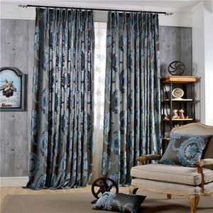 Europäischer Damast strömte Jacquard-Vorhänge für Wohnzimmer Luxusdraps Fensterdekoration Klassische glänzende Samt-Schlafzimmer-Schlafzimmer