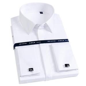 High Collar Men French Cufflink Slim Fit Cotton Shirts Male Long Sleeve Business Wedding Party Free Iron Shirt Hidden Button