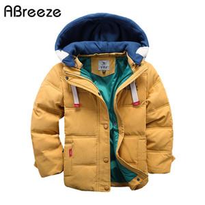 Abreeze дети вниз ветровки 4-10T зима малышей мальчиков верхняя вскользь теплая куртка с капюшоном для мальчиков твердых мальчиков теплые пальто C1116