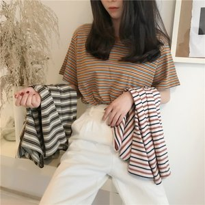 Shop new: 2021 summer Korean version of the new hit color stripe all-match short-sleeved t-shirt women loose top student trendy bottoming sh