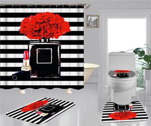 Garrafa Imprimir cortinas de chuveiro conjuntos hipster de alta qualidade Quatro peças terno banheiro anti-espigante antiderrapante desodorante tapetes de banho frete grátis