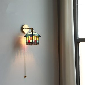 Quarto Children Slened Puxe Lâmpadas de parede de arame Quarto de cabeceira decoração de arte iluminação corredor corredor escadaria de parede luzes1