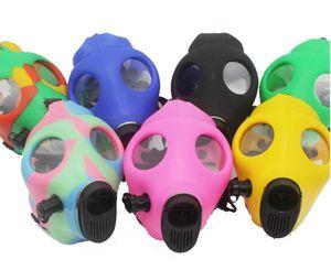 Gas Mask Bong Both Glow in the Dark Water Shisha Acrylic Smoking Pipe Sillicone Mask Hookah Tobacco Tubes Free Shipping Wholesale FY2374